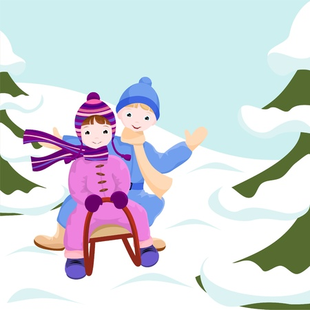 snow sled: boy and girl  ride in a sleigh in winter forrest - illustration Illustration