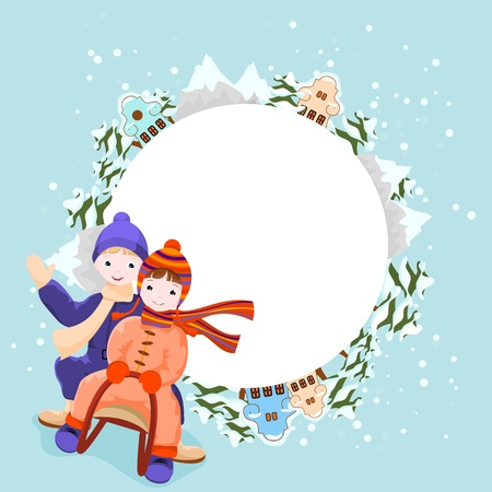 tres: boy and girl  ride in a sleigh, winter background with snow, tres, mountains and houses