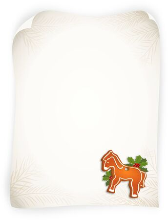 Bitmap illustration of  gingerbread horse and branches of holly on empty vintage sheet - with copy space illustration