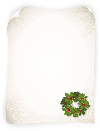 advent wreath: Bitmap illustration of wreath from branches of holly on empty vintage sheet - with copy space