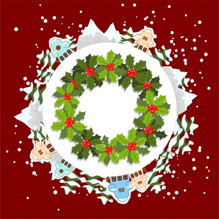 adventskranz: Weihnachten Kranz auf Winter Hintergrund mit Schnee, B�ume, Berge und H�user Illustration