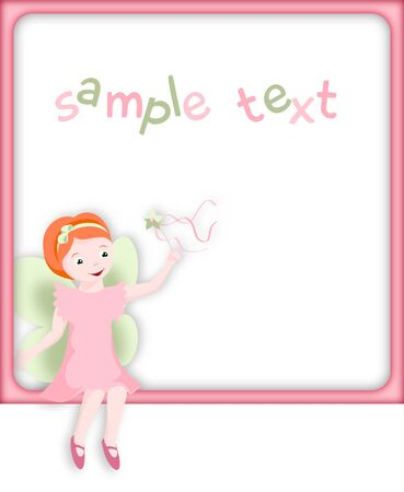 Little cute pink fairy with green wings sitting on pink frame with white background photo