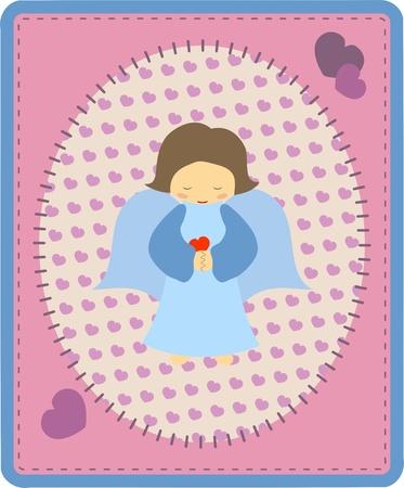 Blue angel on pink background -  illustration Illustration
