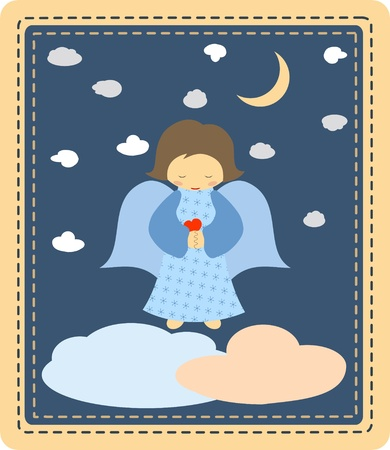 moon angels: Cute little angel on patchwork background Illustration