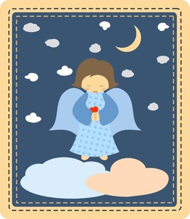 guardian: Cute little angel on patchwork background Illustration