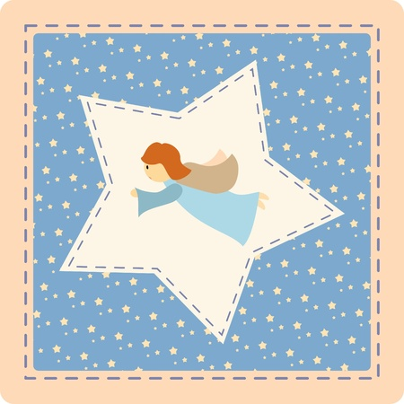 guardian angel: Angel with star on a patchwork background -  illustration Illustration