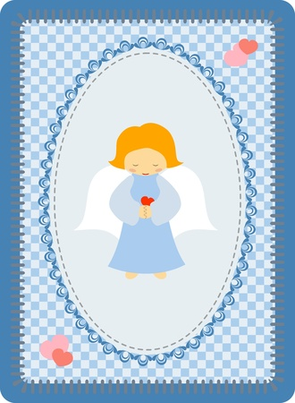 Little blue angel on a patchwork background Vector