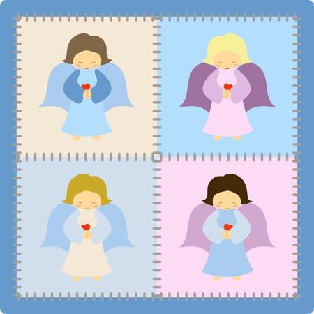 Quattro simpatici angeli colorate su sfondo patchwork - illustrazione