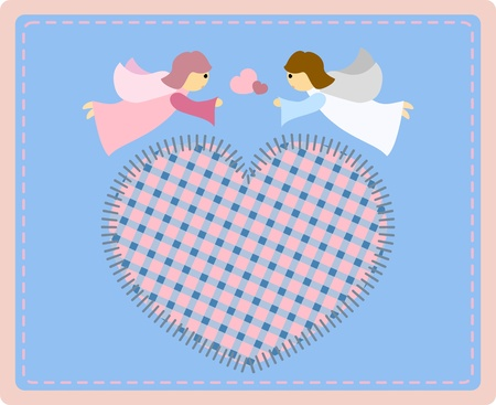 children of heaven: Two beautiful little angels with a patchwork hart on a blue background - illustration