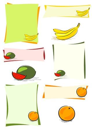 banana sheet: hand drawn melon, orange and bananas on colourful sheets or isolated Illustration
