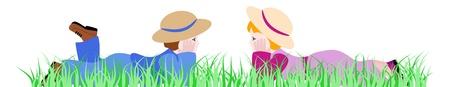 lying in: Boy and girl lying in grass