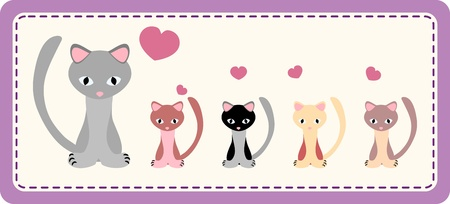 cat-mum with four colorful kittens on patchwork background - illustration Illustration