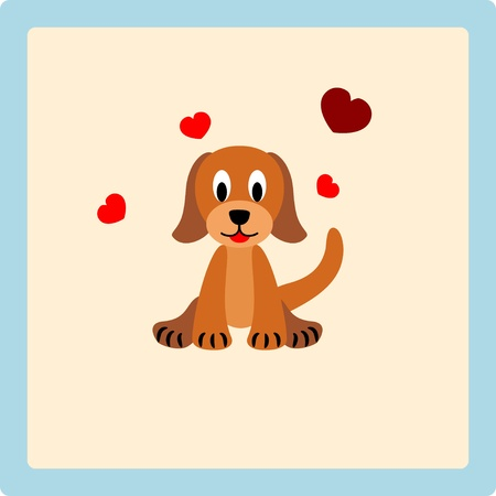 Cute puppy with hearts on beige background - illustration