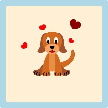 puppy love: Perrito lindo con los corazones en fondo beige - ilustración