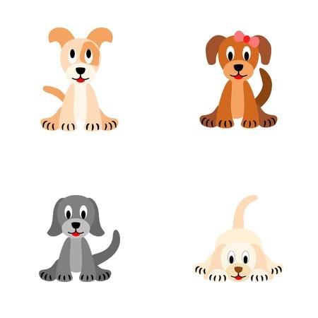 흰색 배경에 고립 된 4 개의 귀여운 강아지 - 그림