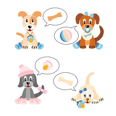 Little cute puppies stylized like newborn babies - isolated on white background Stock Vector - 11650980