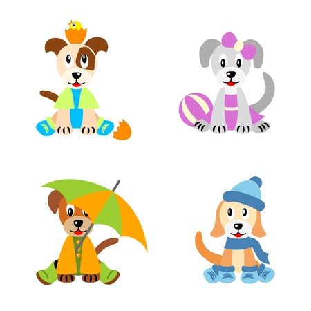 baby animal cartoon: Little cute puppies stylized like children, dressed according four seasons - spring, summer, autumn and winter, isolated on white background