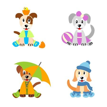 Perritos lindos poco estilizados como los niños, vestidos según las cuatro estaciones - primavera, verano, otoño e invierno, aisladas sobre fondo blanco