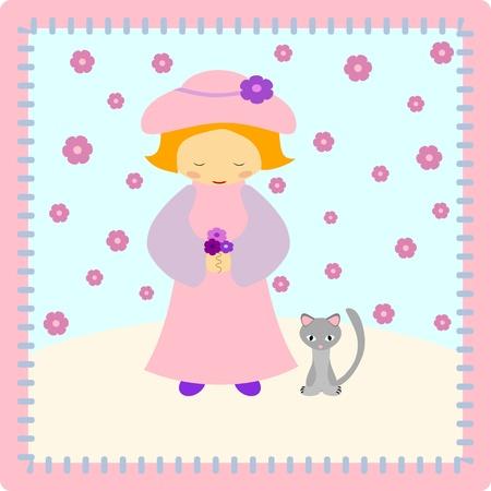 Pink girl with kitten  -  illustration Stock Vector - 11661345