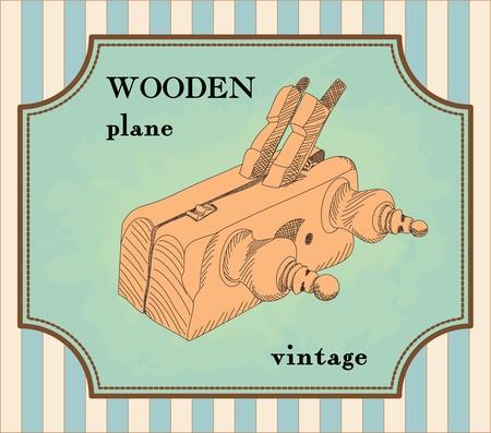 illustrated vintage wooden plane Vector