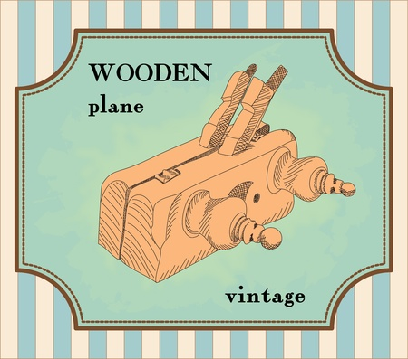 illustrated vintage wooden plane