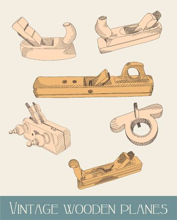 carpentery: illustrated vintage wooden planes, tools