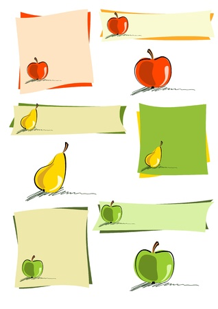 hand drawn apples and pear on colourful sheets or isolated