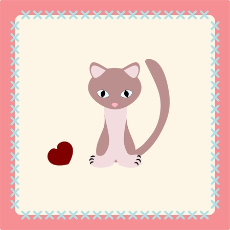 Vector kitty with heart on patchwork background Vector