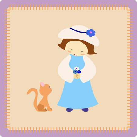 little girl with cute brown kitty Vector