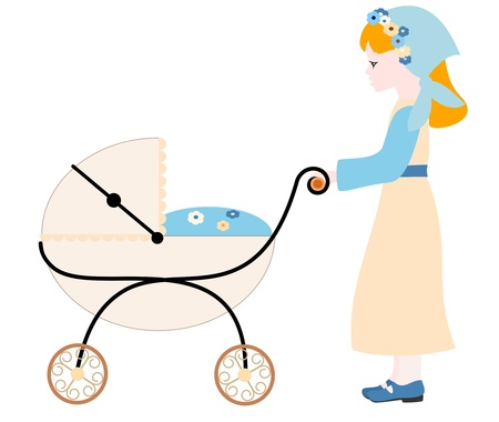 Girl with stroller - vector illustration Vector