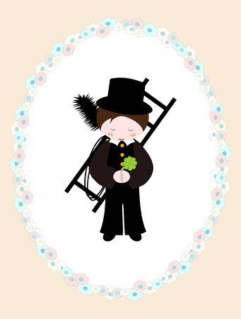 little chimney sweeper in floral frame