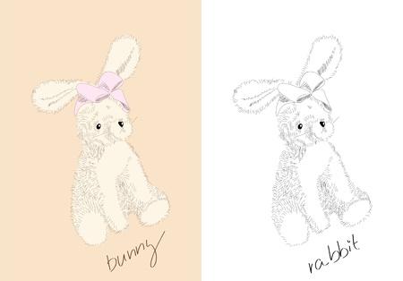 animalitos tiernos: Juguetes dibujados a mano - conejo - libro para colorear