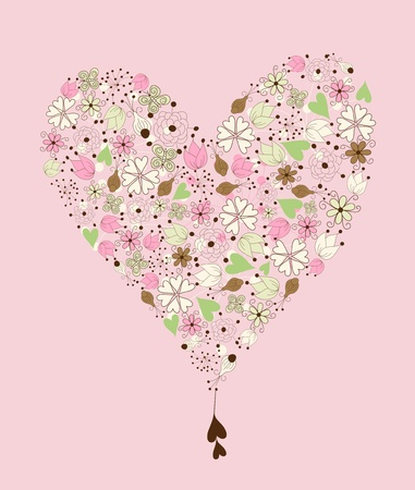 Heart in vintage style  made from hand drawn  floral elements on pink background Vector
