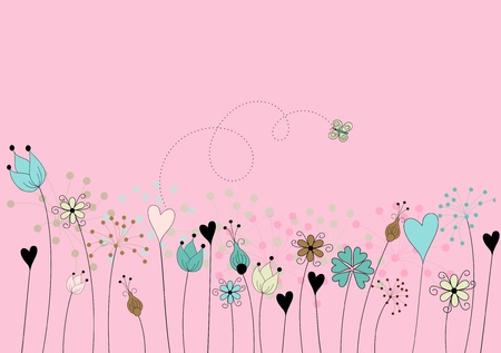 abstract flowers on meadow with butterfly on pink background - hand drawn stylized Vector