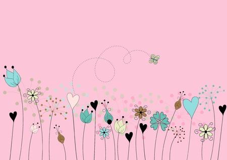 animalitos tiernos: flores abstractas en el prado con la mariposa en el fondo de color rosa - dibujado a mano estilizada