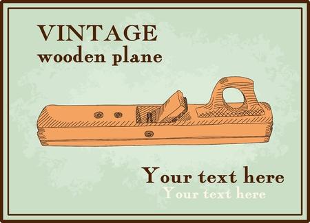 joinery: illustrated vintage wooden plane Illustration