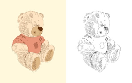 Hand drawn toy - teddy - coloring book Vector