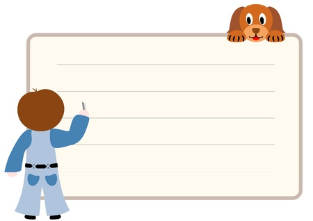 children writing: Writing boy with a puppy - vector illustration