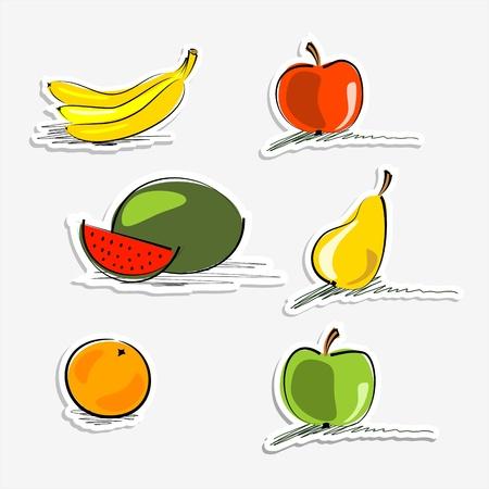 banana sheet: watermelon, orange, bananas, apples and pear stickers Illustration