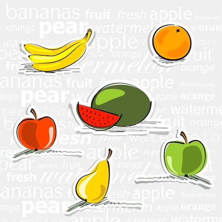 watermelon, orange, bananas, apples and pear stickers on background with abstract text Vector