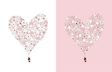 Hearts in vintage style  made from hand drawn  floral elements on white and pink background