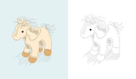 animalitos tiernos: Dibujado a mano juguetes - ponny - libro para colorear Vectores