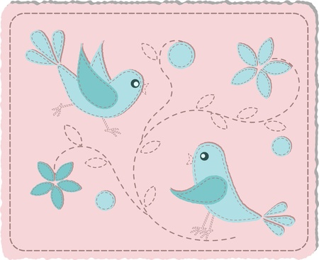 sewn: Blue quilted birds on pink background - illustration