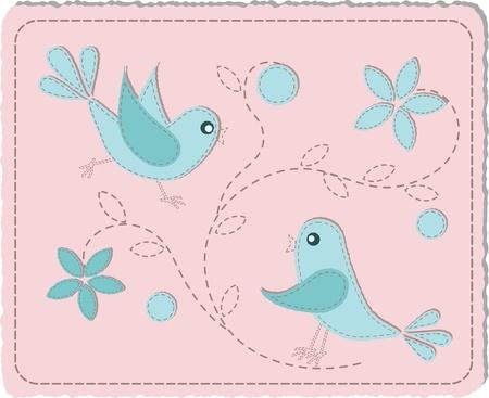 Blue quilted birds on pink background - illustration