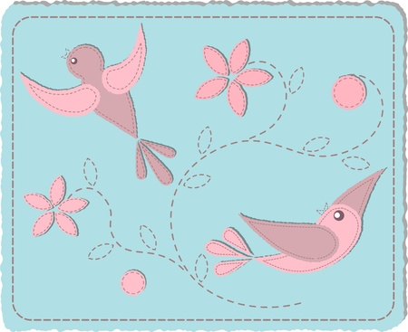 Quilted pink birds on blue background - ilustration Vector