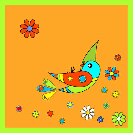 Flying colorful birdie - illustration Stock Vector - 11661271
