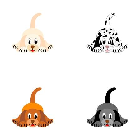 animalitos tiernos: Cuatro perritos lindos - ilustración vectorial Vectores