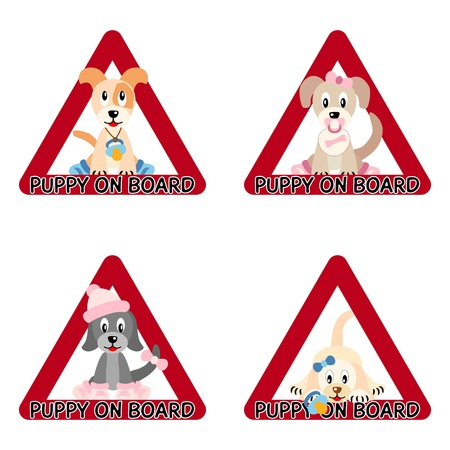 Puppies on board - illustration of puppies in red triangles like traffic sign Vector