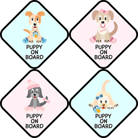 baby on board: Puppies on board - illustration of four cute  puppies stylized like newborn children  in traffic sign Illustration
