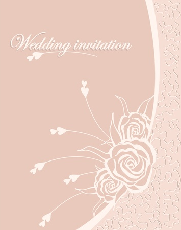 wedding inwitation vith roses and lace on pink background Vector